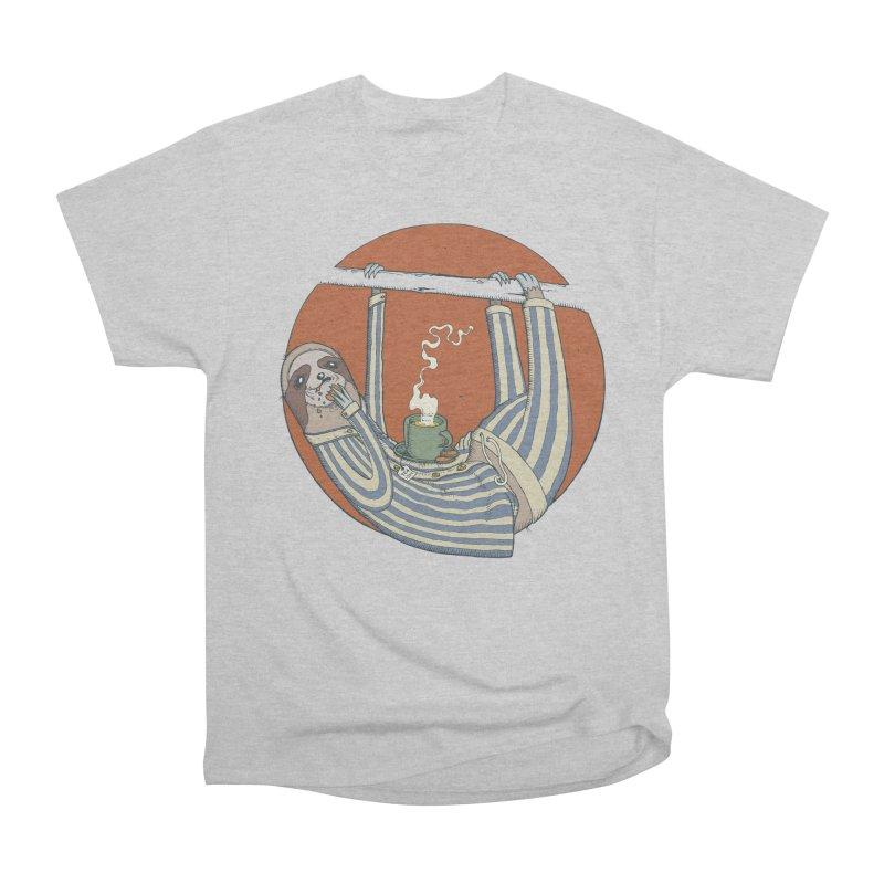 Sloth having breakfast Men's Heavyweight T-Shirt by Magnus Blomster