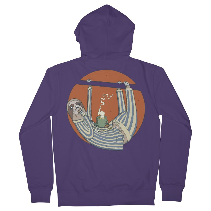Sloth having breakfast Women's French Terry Zip-Up Hoody by Magnus Blomster