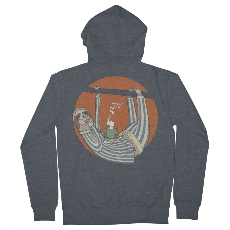 Sloth having breakfast Men's French Terry Zip-Up Hoody by Magnus Blomster
