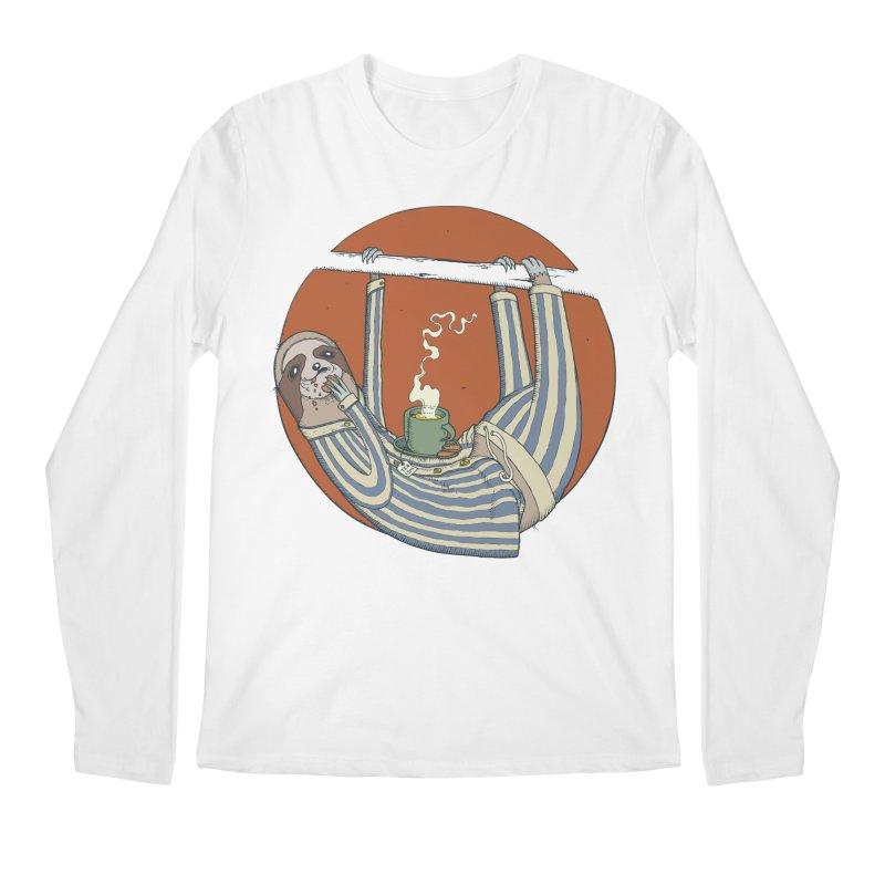 Sloth having breakfast Men's Regular Longsleeve T-Shirt by Magnus Blomster