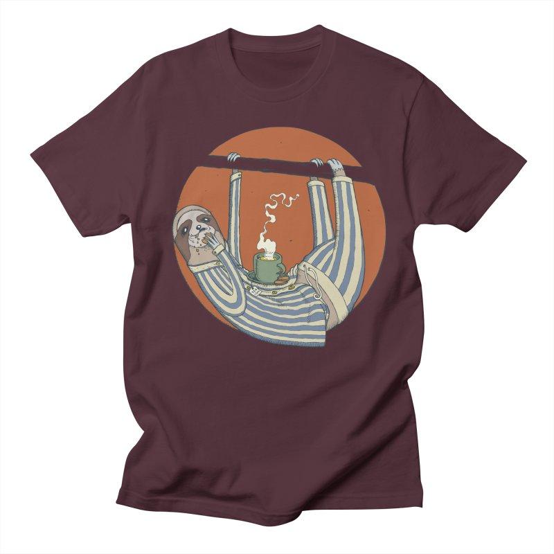 Sloth having breakfast Women's Regular Unisex T-Shirt by Magnus Blomster