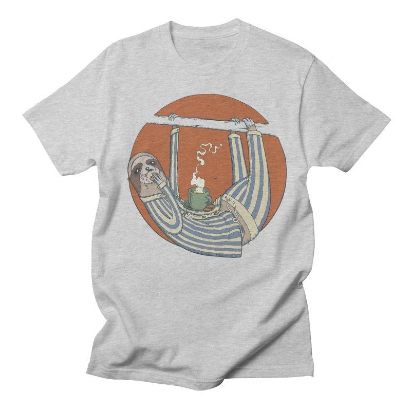 Sloth having breakfast Men's Regular T-Shirt by Magnus Blomster