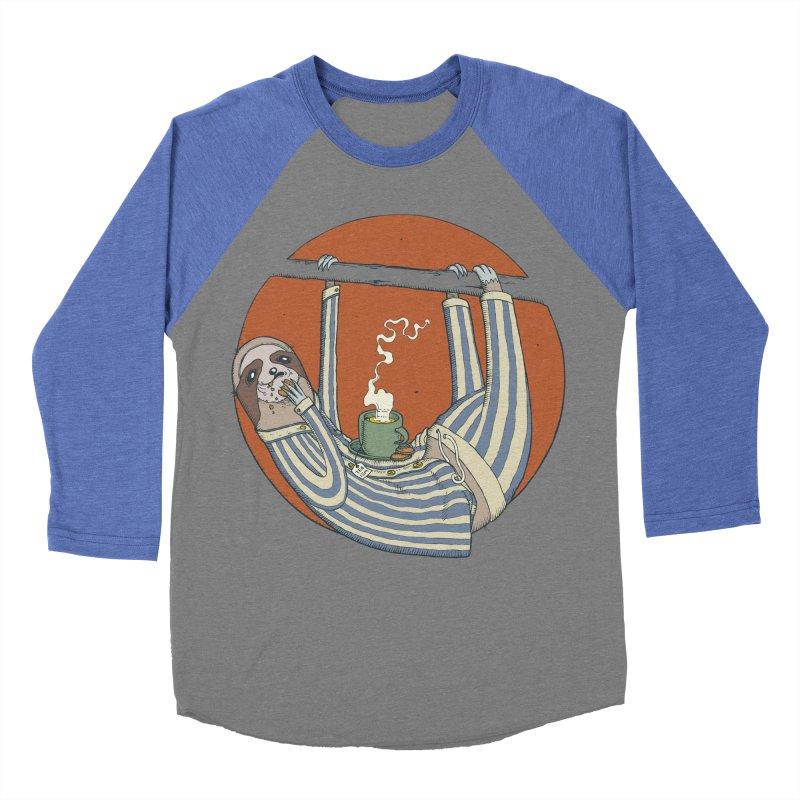 Sloth having breakfast Men's Baseball Triblend Longsleeve T-Shirt by Magnus Blomster