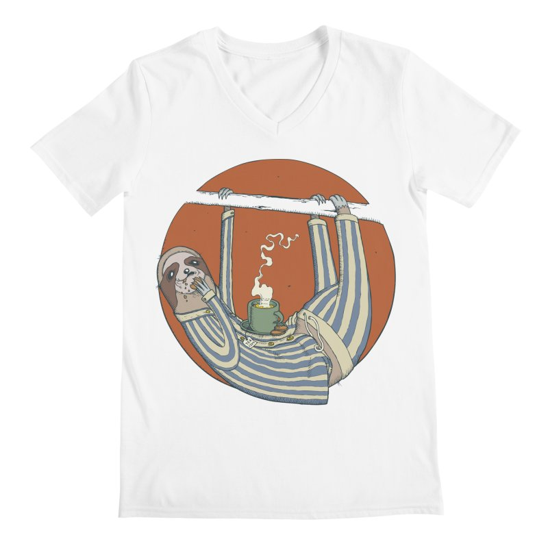 Sloth having breakfast Men's Regular V-Neck by Magnus Blomster