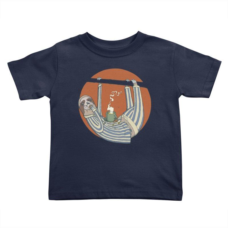 Sloth having breakfast Kids Toddler T-Shirt by Magnus Blomster