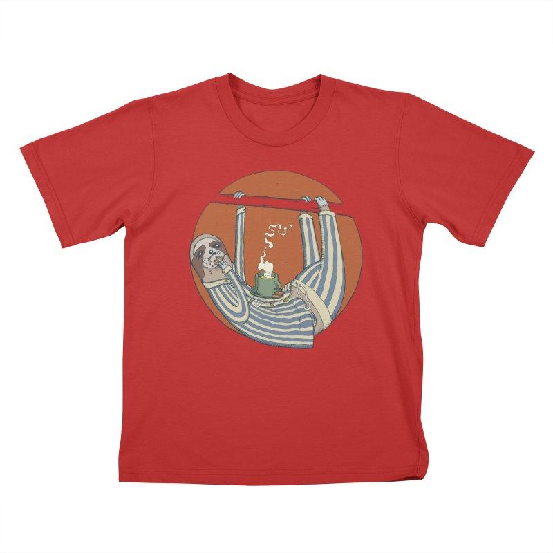 Sloth having breakfast Kids T-Shirt by Magnus Blomster