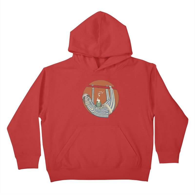 Sloth having breakfast Kids Pullover Hoody by Magnus Blomster