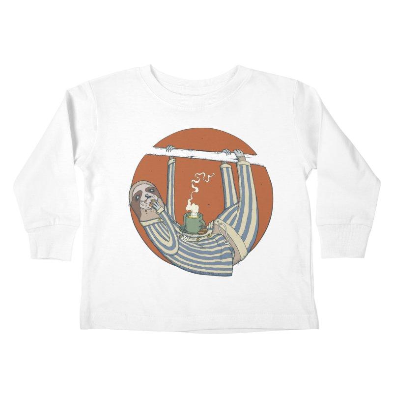 Sloth having breakfast Kids Toddler Longsleeve T-Shirt by Magnus Blomster