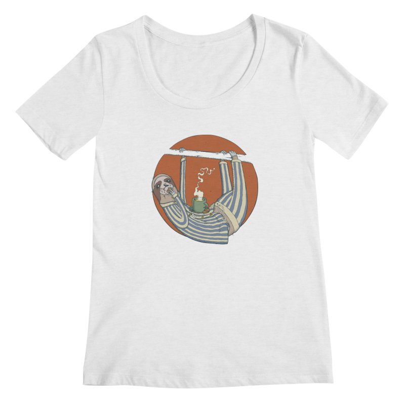 Sloth having breakfast Women's Regular Scoop Neck by Magnus Blomster