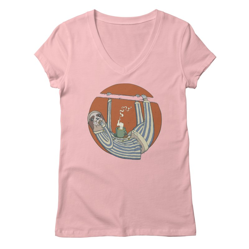 Sloth having breakfast Women's Regular V-Neck by Magnus Blomster