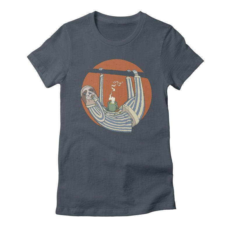 Sloth having breakfast Women's Fitted T-Shirt by Magnus Blomster
