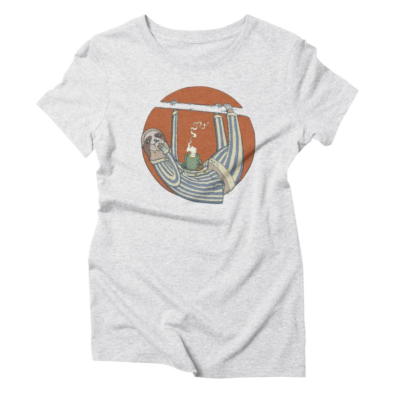 Sloth having breakfast Women's Triblend T-Shirt by Magnus Blomster