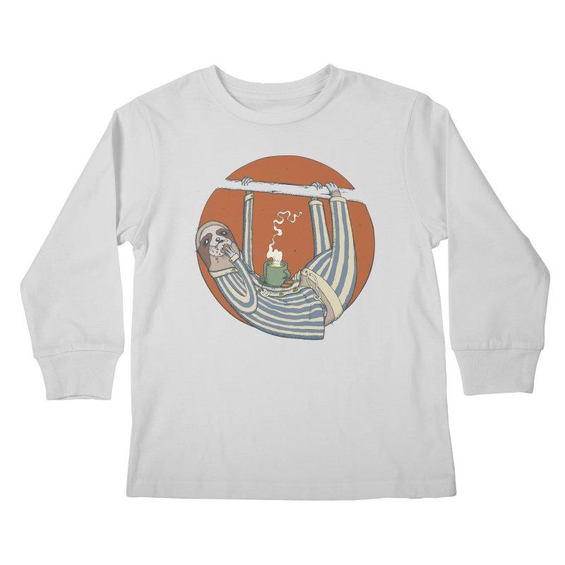 Sloth having breakfast Kids Longsleeve T-Shirt by Magnus Blomster