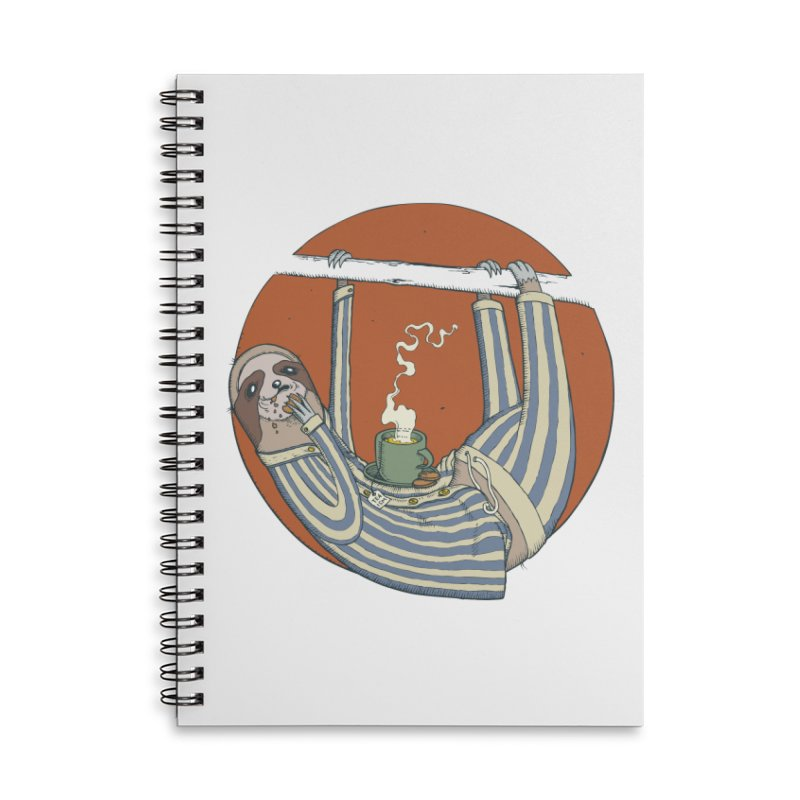 Sloth having breakfast Accessories Lined Spiral Notebook by Magnus Blomster