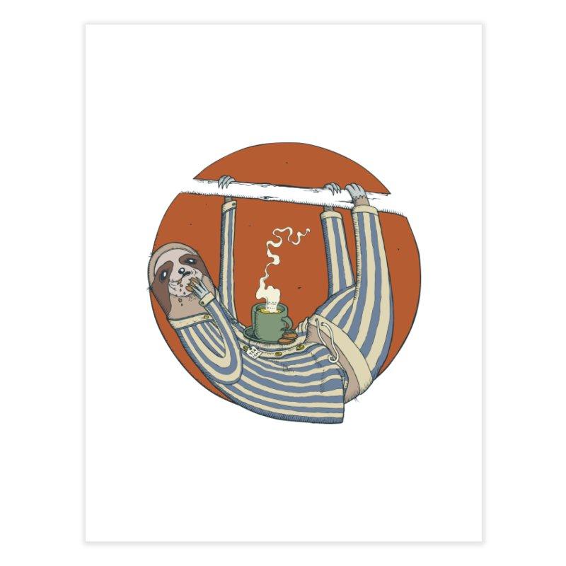 Sloth having breakfast Home Fine Art Print by Magnus Blomster