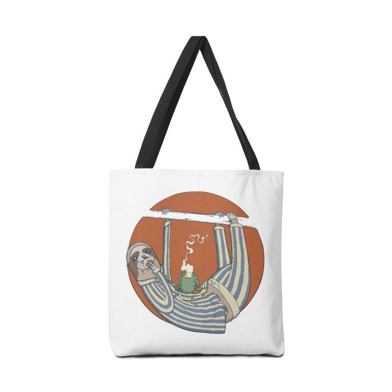Sloth having breakfast Accessories Tote Bag Bag by Magnus Blomster