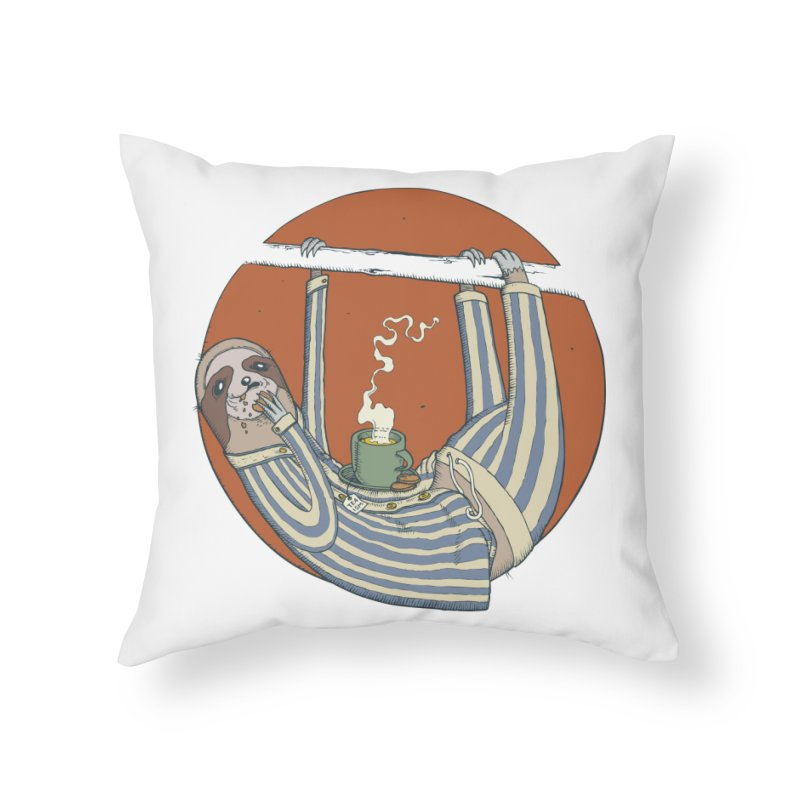 Sloth having breakfast Home Throw Pillow by Magnus Blomster
