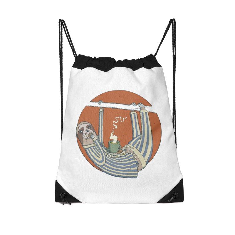Sloth having breakfast Accessories Drawstring Bag Bag by Magnus Blomster