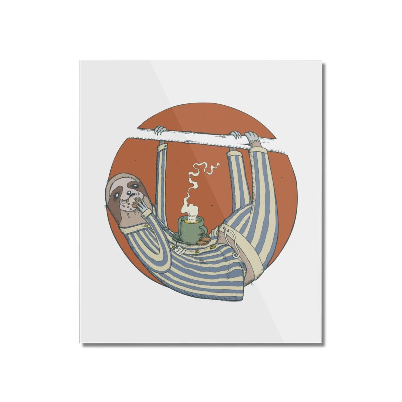 Sloth having breakfast Home Mounted Acrylic Print by Magnus Blomster