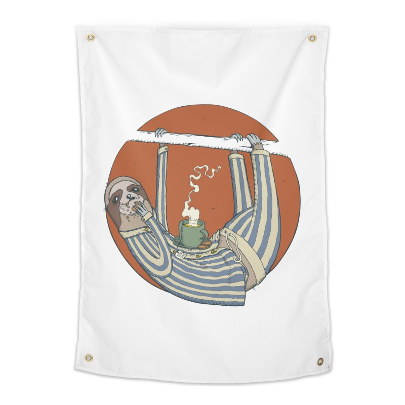 Sloth having breakfast Home Tapestry by Magnus Blomster