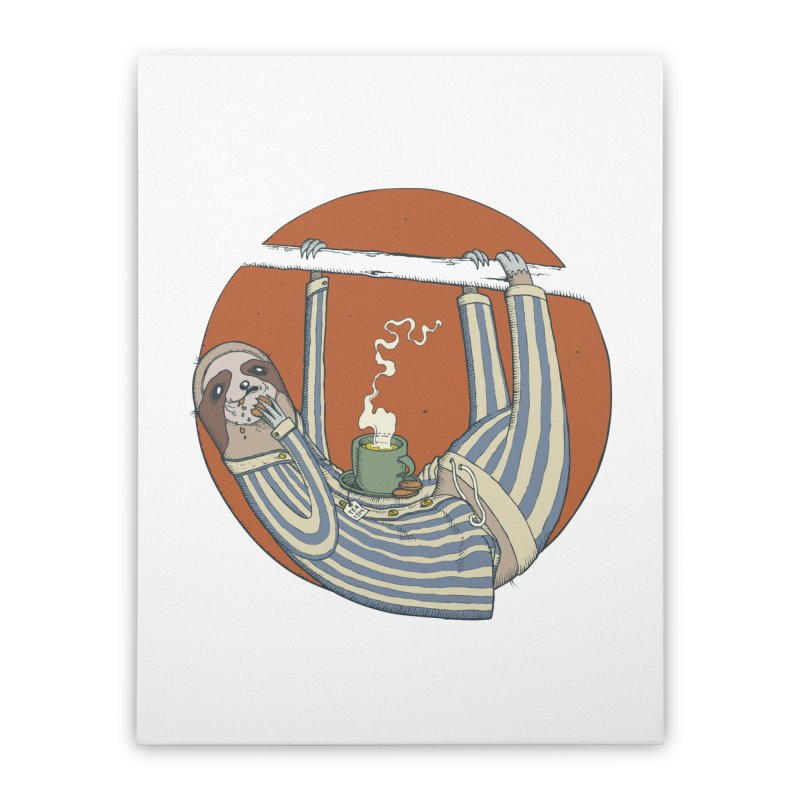 Sloth having breakfast Home Stretched Canvas by Magnus Blomster