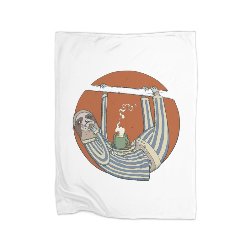Sloth having breakfast Home Fleece Blanket Blanket by Magnus Blomster