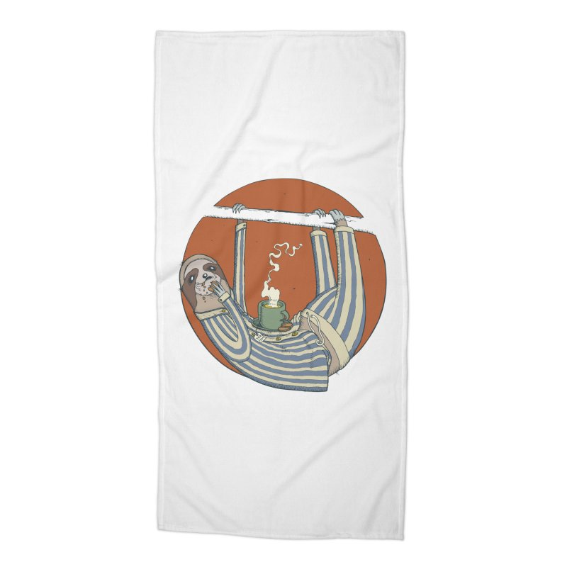 Sloth having breakfast Accessories Beach Towel by Magnus Blomster