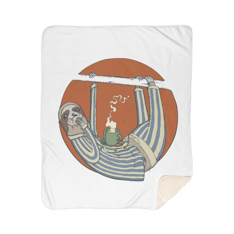 Sloth having breakfast Home Sherpa Blanket Blanket by Magnus Blomster