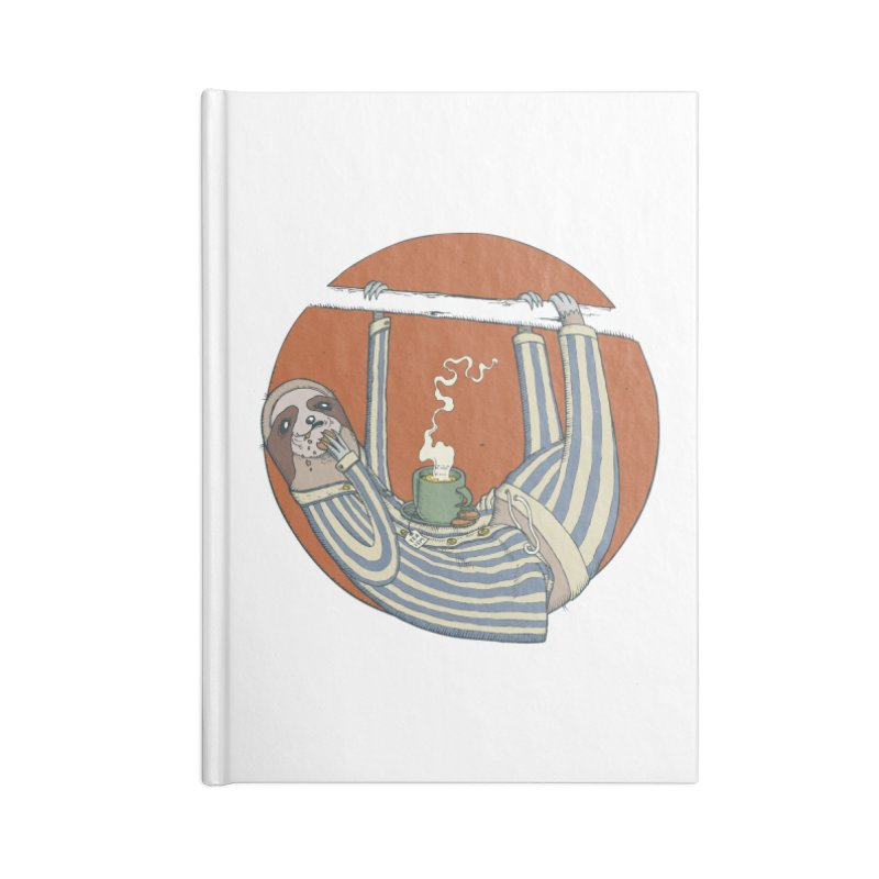 Sloth having breakfast Accessories Lined Journal Notebook by Magnus Blomster