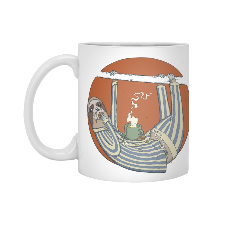 Sloth having breakfast Accessories Standard Mug by Magnus Blomster