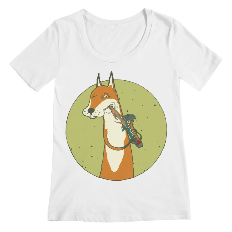 Fox vs toffee Women's Regular Scoop Neck by Magnus Blomster