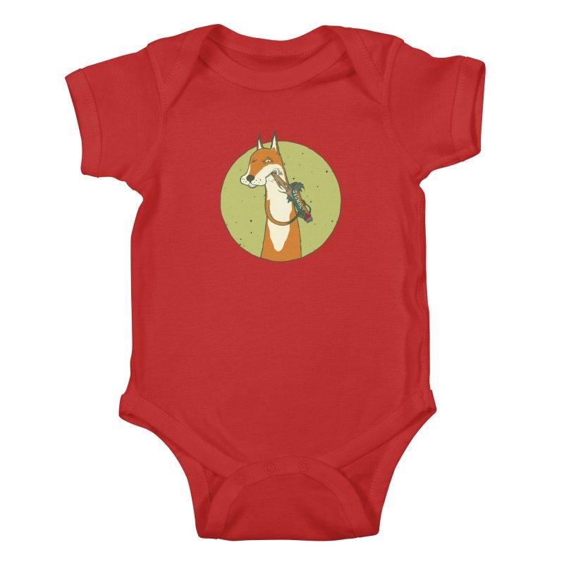 Fox vs toffee Kids Baby Bodysuit by Magnus Blomster