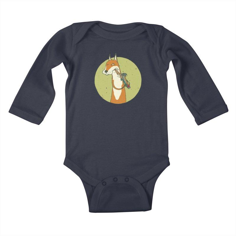 Fox vs toffee Kids Baby Longsleeve Bodysuit by Magnus Blomster