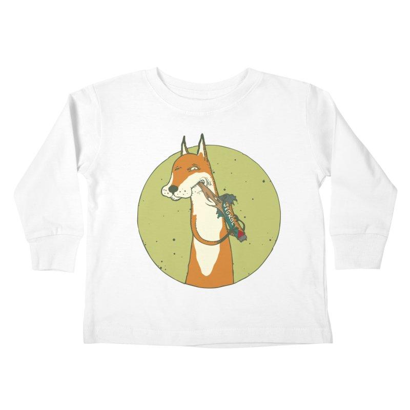 Fox vs toffee Kids Toddler Longsleeve T-Shirt by Magnus Blomster