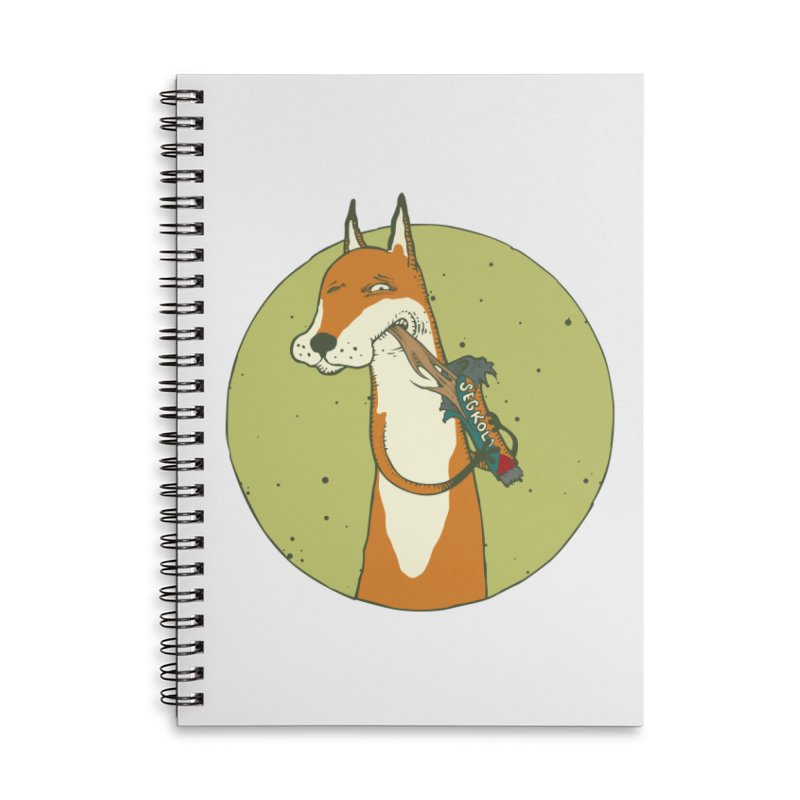 Fox vs toffee Accessories Lined Spiral Notebook by Magnus Blomster