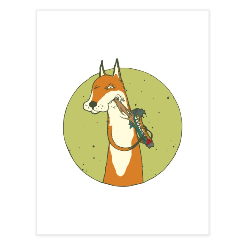 Fox vs toffee Home Fine Art Print by Magnus Blomster