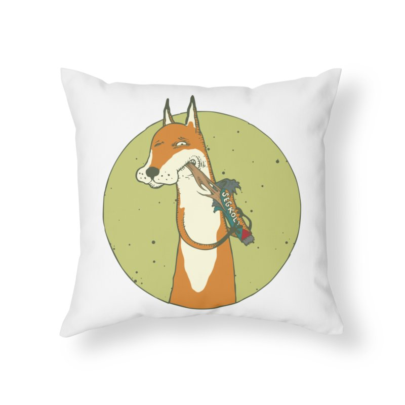 Fox vs toffee Home Throw Pillow by Magnus Blomster