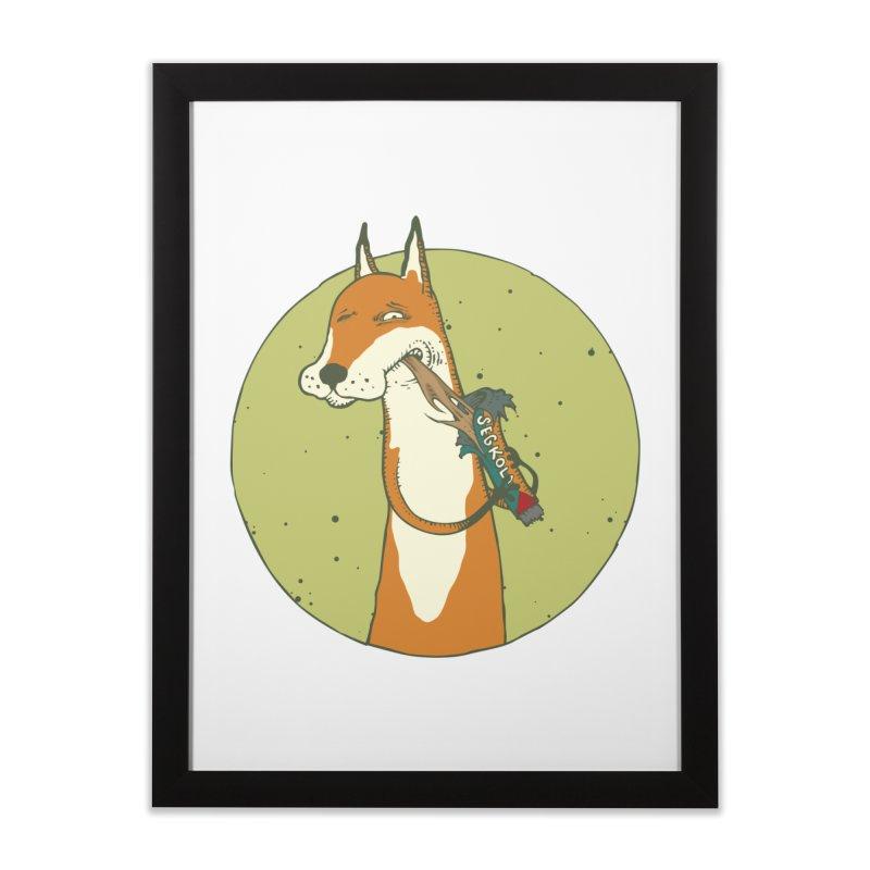 Fox vs toffee Home Framed Fine Art Print by Magnus Blomster
