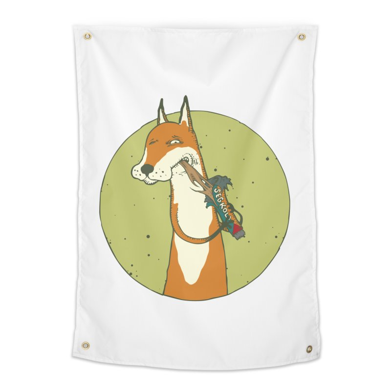 Fox vs toffee Home Tapestry by Magnus Blomster