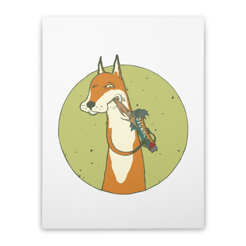 Fox vs toffee Home Stretched Canvas by Magnus Blomster