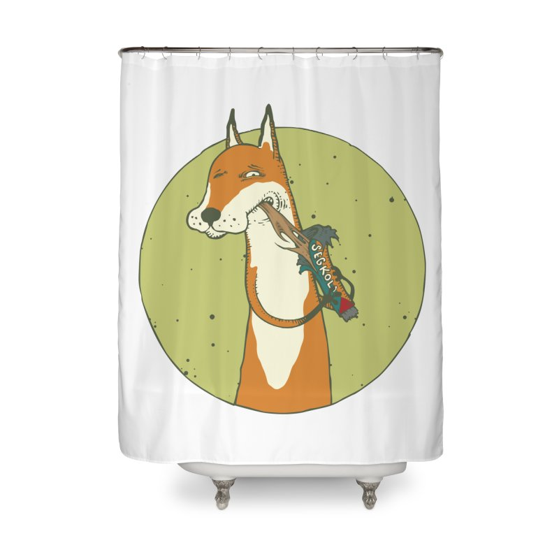 Fox vs toffee Home Shower Curtain by Magnus Blomster