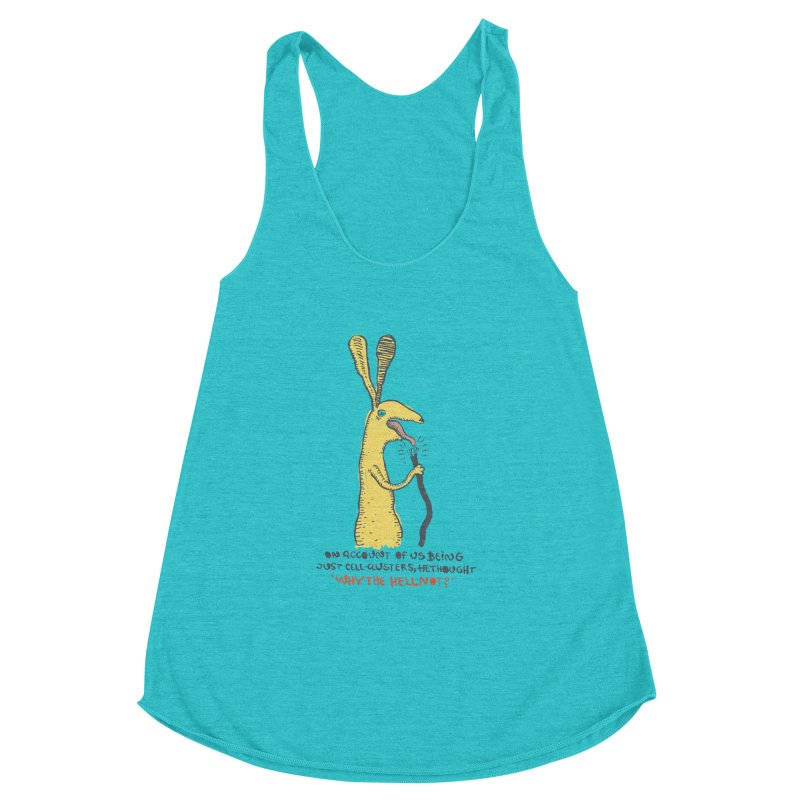 Cell-cluster bunny Women's Racerback Triblend Tank by Magnus Blomster