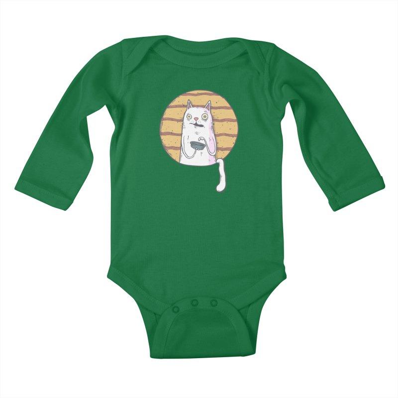 Starving cat Kids Baby Longsleeve Bodysuit by Magnus Blomster
