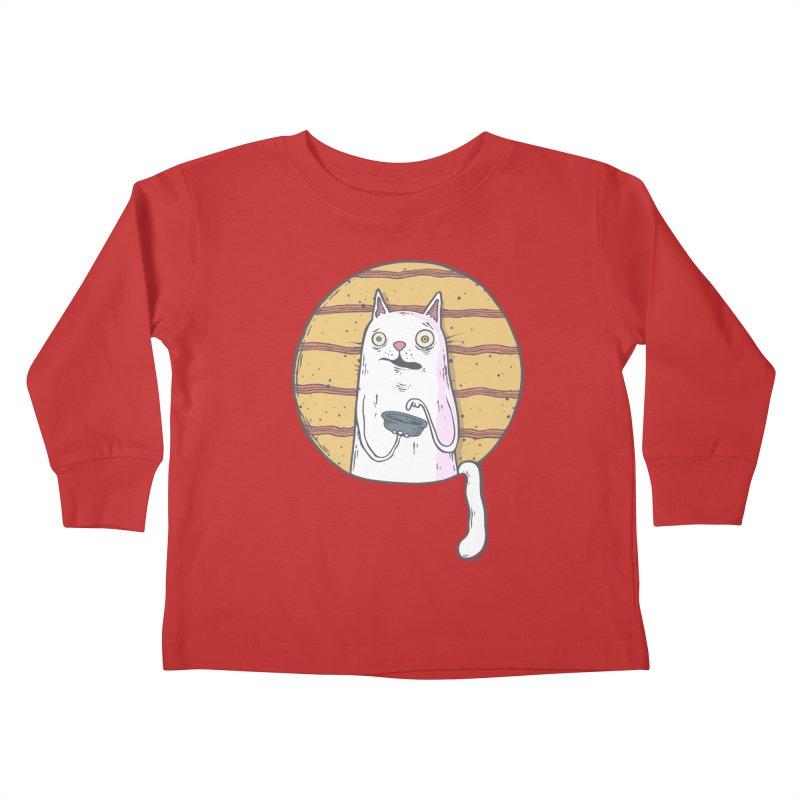 Starving cat Kids Toddler Longsleeve T-Shirt by Magnus Blomster