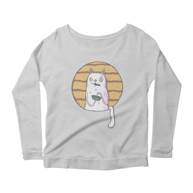 Starving cat Women's Scoop Neck Longsleeve T-Shirt by Magnus Blomster