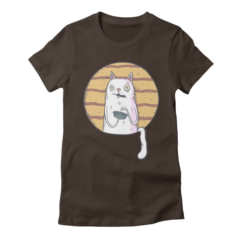 Starving cat Women's Fitted T-Shirt by Magnus Blomster
