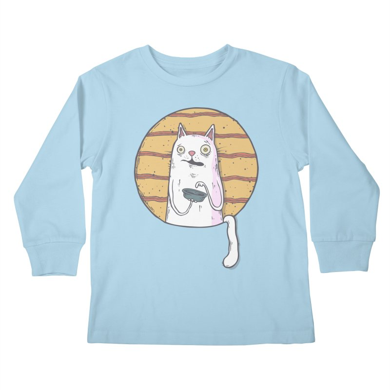 Starving cat Kids Longsleeve T-Shirt by Magnus Blomster