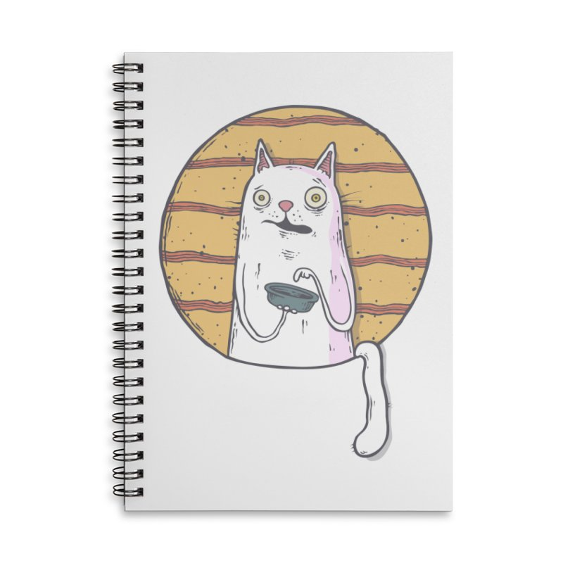 Starving cat Accessories Lined Spiral Notebook by Magnus Blomster