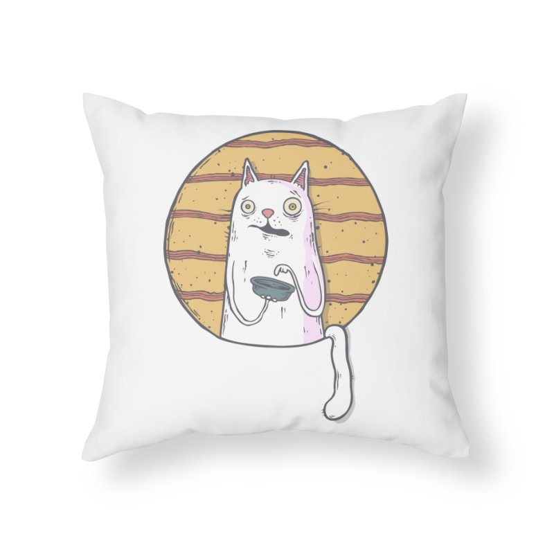 Starving cat Home Throw Pillow by Magnus Blomster