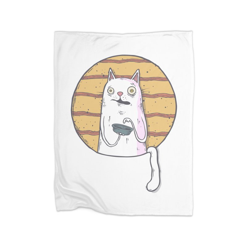 Starving cat Home Fleece Blanket Blanket by Magnus Blomster